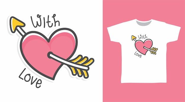 Miłość z projektem koszulki miłosnej