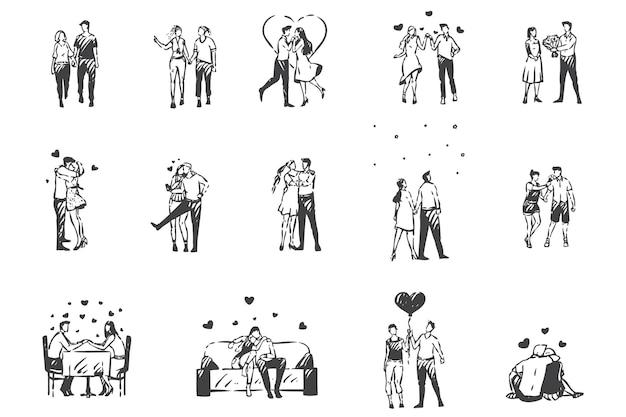 Miłość, zakochani ludzie szkic koncepcji. romantyczna atmosfera, walentynki, zakochane pary, randki kochanków, zakochani mężczyźni i kobiety spędzający razem czas. ręcznie rysowane na białym tle wektor