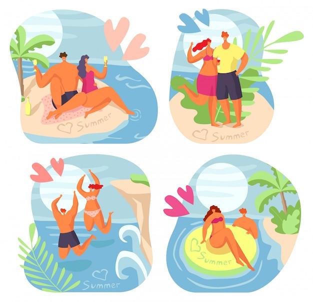 Miłości Para Na Lato, Kobieta Mężczyzna Ilustracja Wody Morskiej. Ludzie Chracater Mają Wakacje Na Plaży Nad Oceanem, Romantyczny Zestaw Podróżniczy. Premium Wektorów