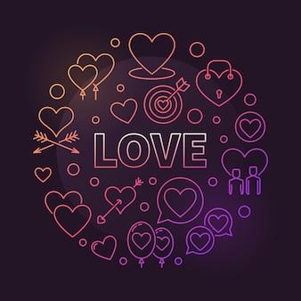 Miłości round pojęcia konturu kolorowa ilustracja