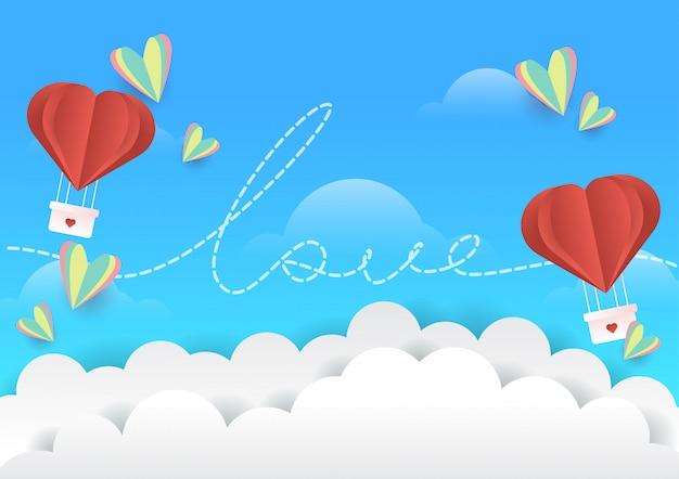 Miłości walentynki tło z lotniczym balonem