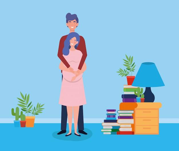 Miłośnicy ciąży para w domu