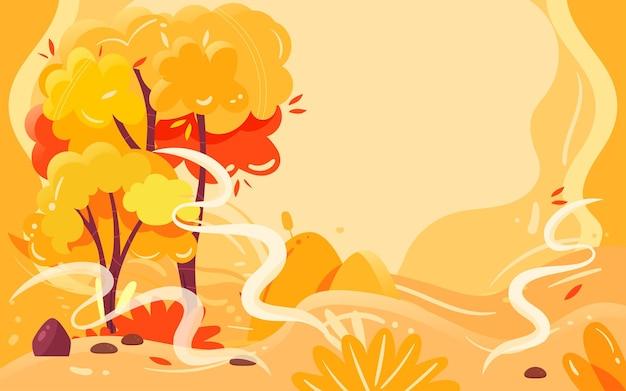 Miłośnicy jesieni aktywność na świeżym powietrzu ilustracja jesienna podróż i plakat wycieczkowy