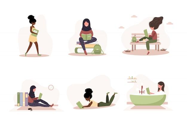 Miłośnicy książek. słodkie czytanie kobiet posiadających książki. przygotowanie do egzaminu lub certyfikacji. koncepcja biblioteki wiedzy i edukacji, czytelnicy literatury.