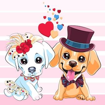 Miłośnicy uroczych psów rasy labrador retriever