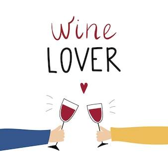 Miłośnik wina napis na białym tle z kieliszkami do wina i męskimi i żeńskimi rękami
