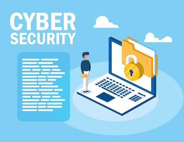 Mini człowiek z laptopem i cyberbezpieczeństwem