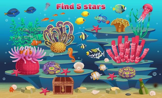 Mini gra dla dzieci. znajdź 5 gwiazdek. rafa koralowa z algami, tropikalnymi rybami i zwierzętami morskimi. ilustracja wektorowa w stylu cartoon.