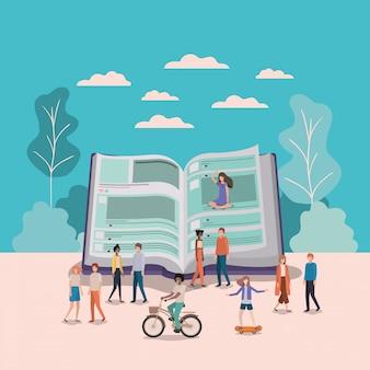 Mini ludzie pracujący w książce tekstowej