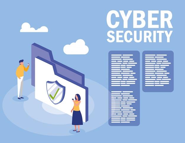 Mini ludzie z folderem i cyberbezpieczeństwem