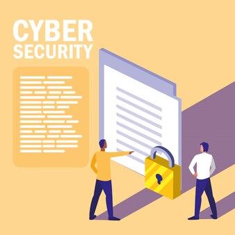 Mini ludzie z zabezpieczeniem dokumentów i cyberbezpieczeństwem