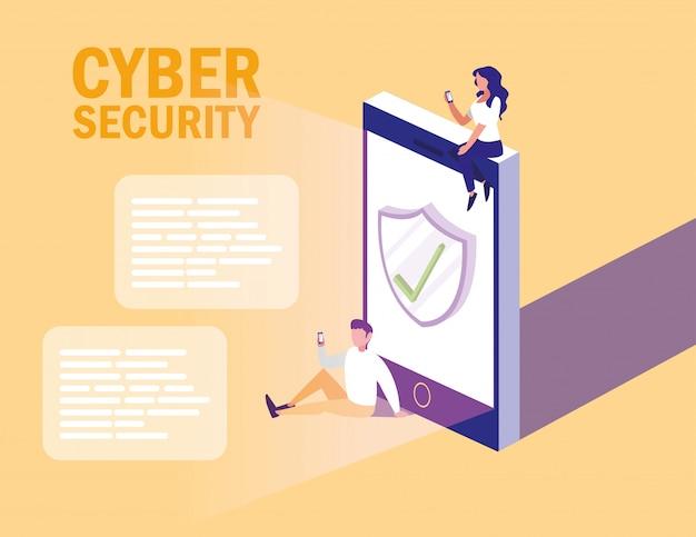 Mini ludzie ze smartfonem i cyberbezpieczeństwem