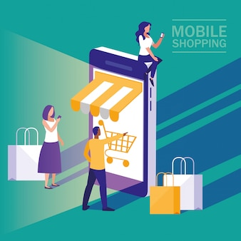 Mini ludzie ze smartfonem i zakupy online