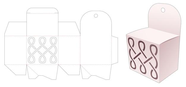 Mini pudełko i otwór do zawieszania z szablonem wycinanym z szablonu linii krzywej