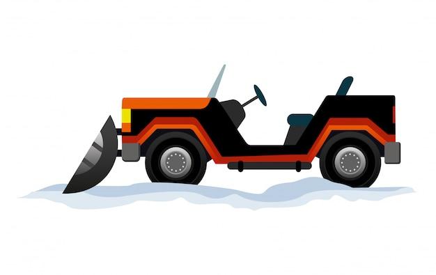 Mini traktor pług śnieżny, transport odśnieżarki