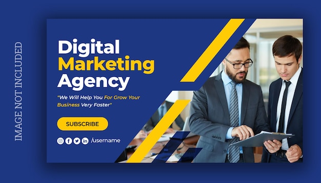 Miniatura wideo z youtube i szablon banera internetowego dla biznesu marketingu cyfrowego