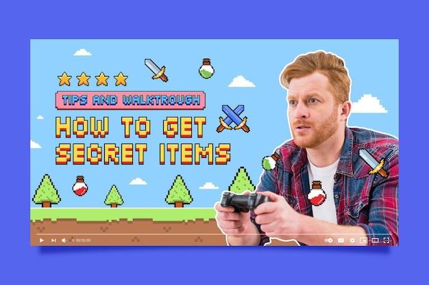 Miniatura youtube liniowego płaskiego gracza w stylu retro