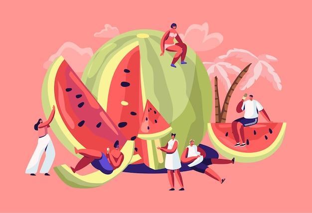 Miniaturowe postacie w strojach kąpielowych relaksujące się na ogromnym orzeźwiającym dojrzałym arbuzie.