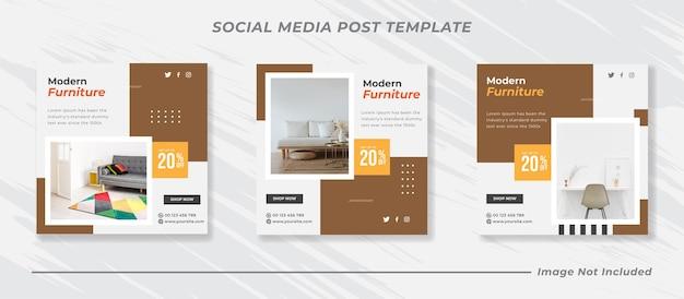 Minimalis furniture social media i szablon postu na instagramie