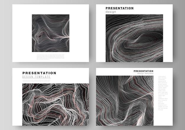 Minimalistyczna abstrakcyjna ilustracja wektorowa edytowalnego układu slajdów prezentacji projektuje szablony biznesowe. powierzchnia siatki 3d, faliste tło z efektem tętnienia.
