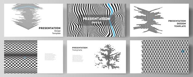 Minimalistyczna abstrakcyjna ilustracja wektorowa edytowalnego układu slajdów prezentacji zaprojekt...