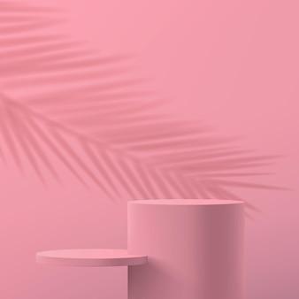 Minimalistyczna abstrakcyjna scena w pastelowych różowych kolorach
