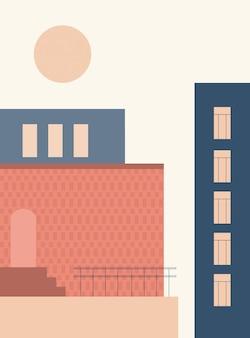 Minimalistyczna architektura abstrakcyjne geometryczne kształty schody elementy łukowe minimalistyczne
