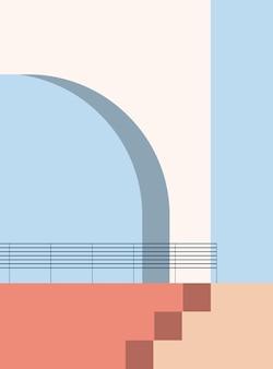 Minimalistyczna architektura abstrakcyjne kształty geometryczne schody łukowe elementy minimalistyczny plakat