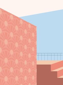 Minimalistyczna architektura abstrakcyjne kształty geometryczne schody łukowe elementy tekstury minimalistyczne
