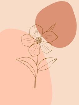 Minimalistyczna botaniczna sztuka ścienna boho z abstrakcyjnymi kształtami i kwiatami modny styl sztuki linii