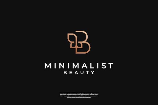 Minimalistyczna elegancka inspiracja do projektowania logo b i liści leaf