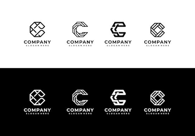 Minimalistyczna elegancka kreatywna litera c zestaw kolekcji logo