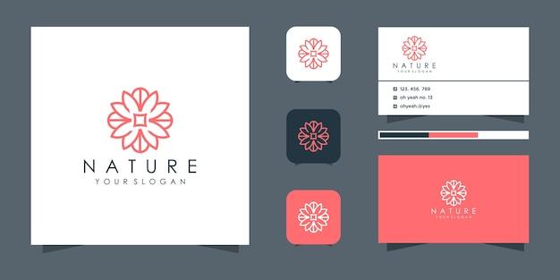 Minimalistyczna elegancka kwiatowa róża do pielęgnacji urody, kosmetyków, jogi i spa. logo i wizytówka.