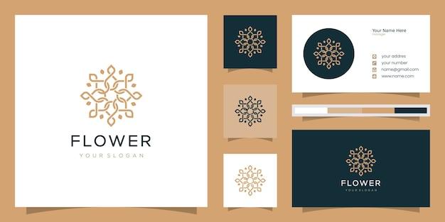 Minimalistyczna elegancka kwiatowa róża do pielęgnacji urody, kosmetyków, jogi i spa. logo i wizytówka