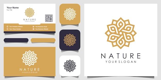 Minimalistyczna elegancka kwiatowa róża z logo w stylu linii i wizytówką. logo dla urody, kosmetyków, jogi i spa. projekt logo i wizytówki