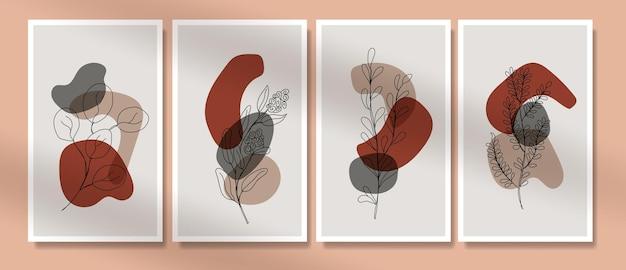 Minimalistyczna Grafika Liniowa Kwiaty I Liście Plakat Boho W Połowie Wieku Premium Wektorów