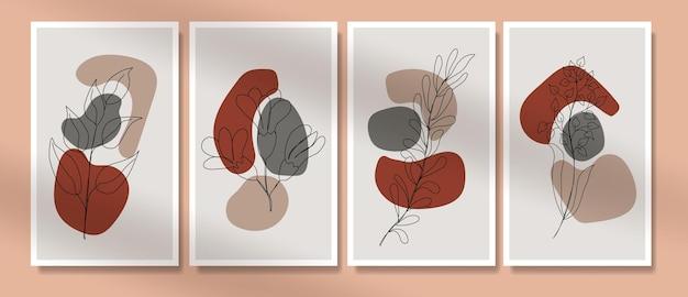 Minimalistyczna grafika liniowa kwiaty i liście plakat boho w połowie wieku