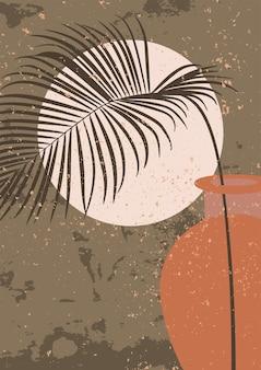 Minimalistyczna grafika ścienna abstrakcyjny nadruk do estetycznego wnętrza w stylu boho wystrój domu w kolorach musztardy i brązu