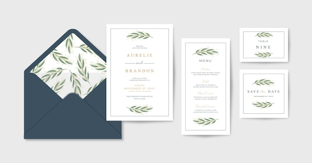 Minimalistyczna i elegancka papeteria ślubna z pięknymi liśćmi