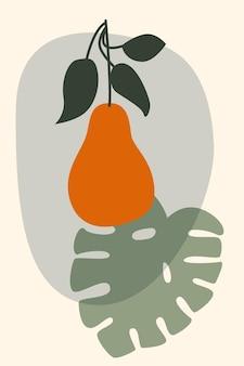 Minimalistyczna ilustracja boho gruszki i liści monstera