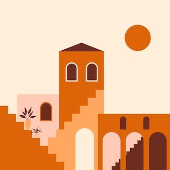 Minimalistyczna ilustracja boho starego miasta