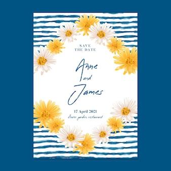 Minimalistyczna karta ślubna w kwiaty