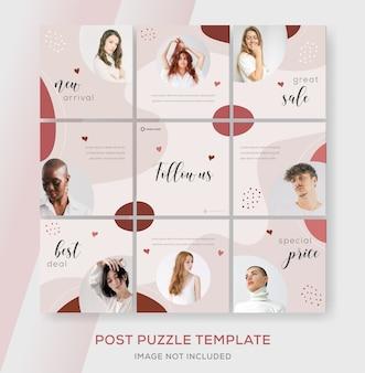 Minimalistyczna kolekcja bannerów sprzedaży mody na post puzzli na instagramie
