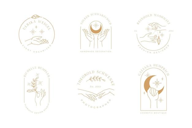 Minimalistyczna kolekcja logo dłoni