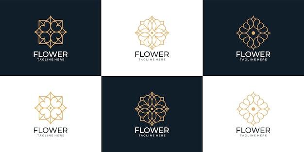 Minimalistyczna kolekcja logo z monogramem spa nature flower
