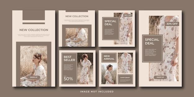Minimalistyczna kolekcja mody w mediach społecznościowych i zestaw szablonów historii