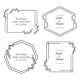 Minimalistyczna kolekcja szablon kwiatowy zaproszenia ślubne