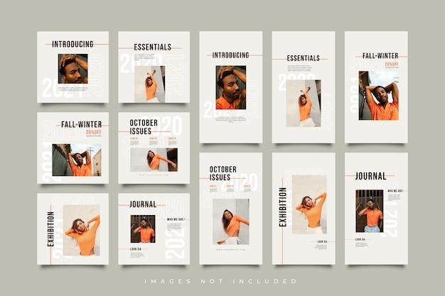 Minimalistyczna kolekcja szablonów postów i historii w mediach społecznościowych
