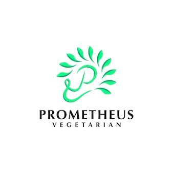 Minimalistyczna koncepcja logo z inicjałem dla wegańskiej wegetariańskiej firmy roślinnej i środowiskowej