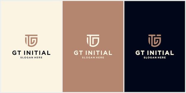 Minimalistyczna litera logo gt, logo gt z koncepcją ochrony, szablon logo gt log corporate design
